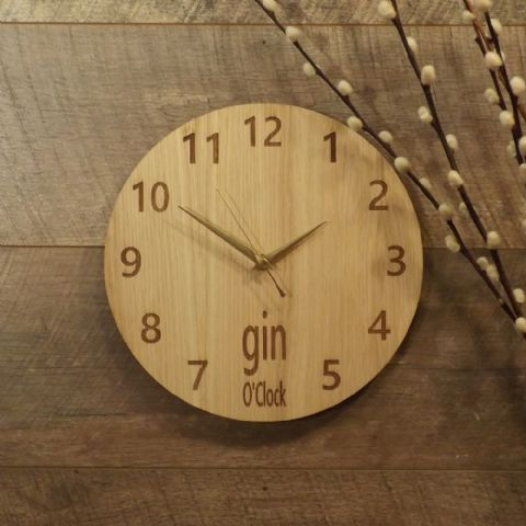 Gin O'Clock Wooden Wall Clock for Gin Lovers (G1)